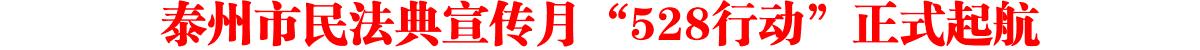 """泰州市民法典宣传月""""528行动""""正式起航"""